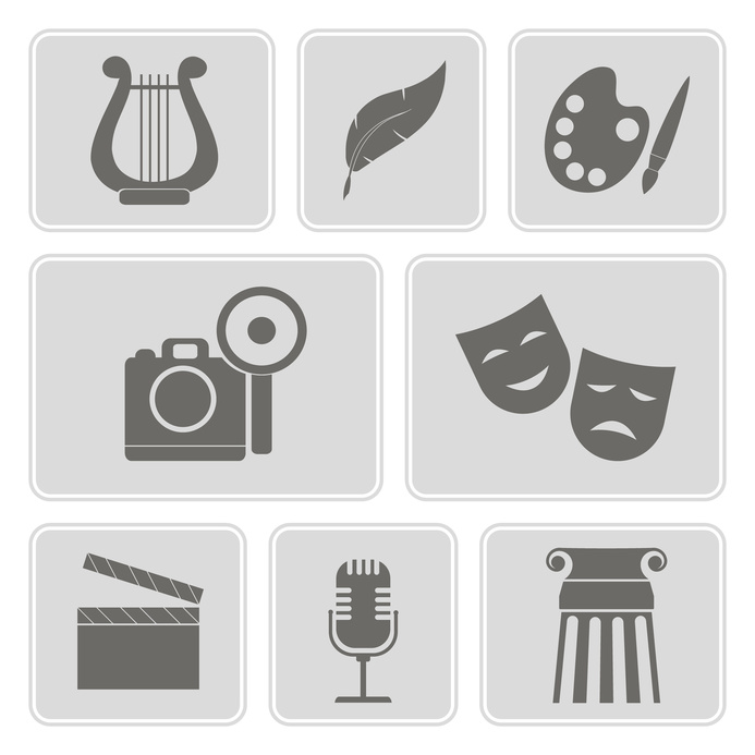 set of monochrome icons with symbols of art