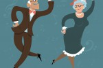 Senior couple dancing swing or Big Apple, vector illustration, EPS 8